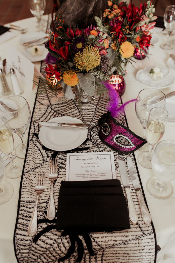 halloween themed wedding reception table setting