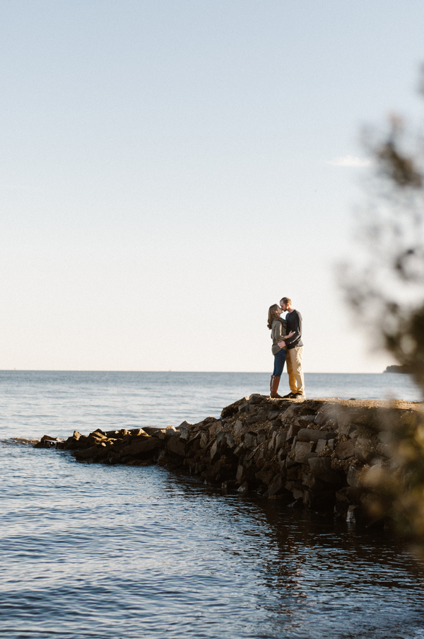 Engagement Photo Ideas on the Rocks by Lake