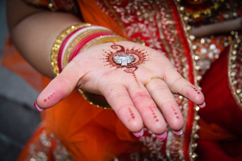 bride with henna on palm of hand