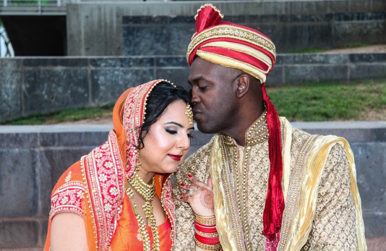 south asian wedding bride and groom attire
