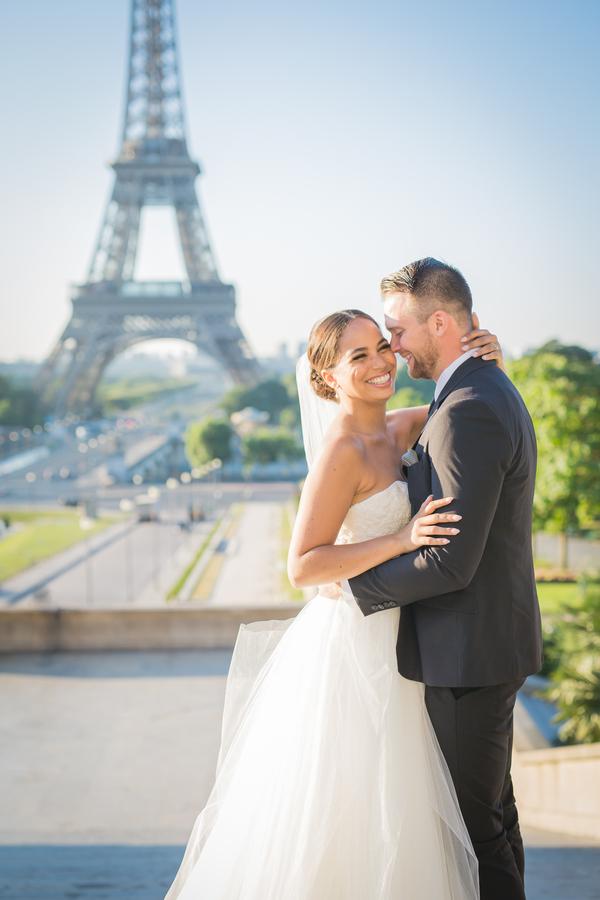 Wedding Portrait Overlooking Eiffel Tower