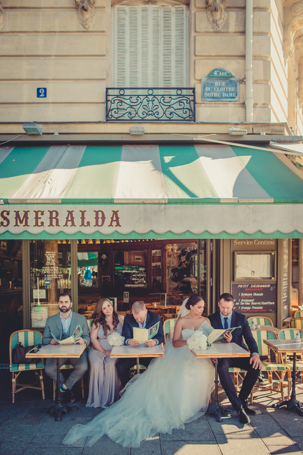 Bride and Groom at Cafe in Paris