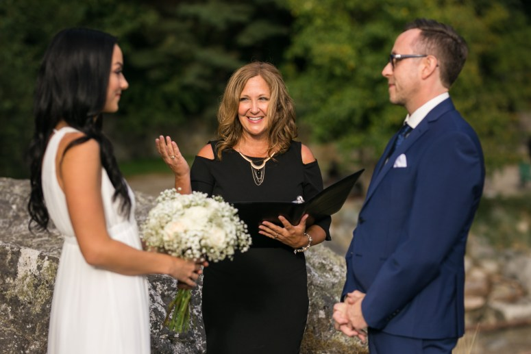 bride and groom reciting vows at Whytecliff Park