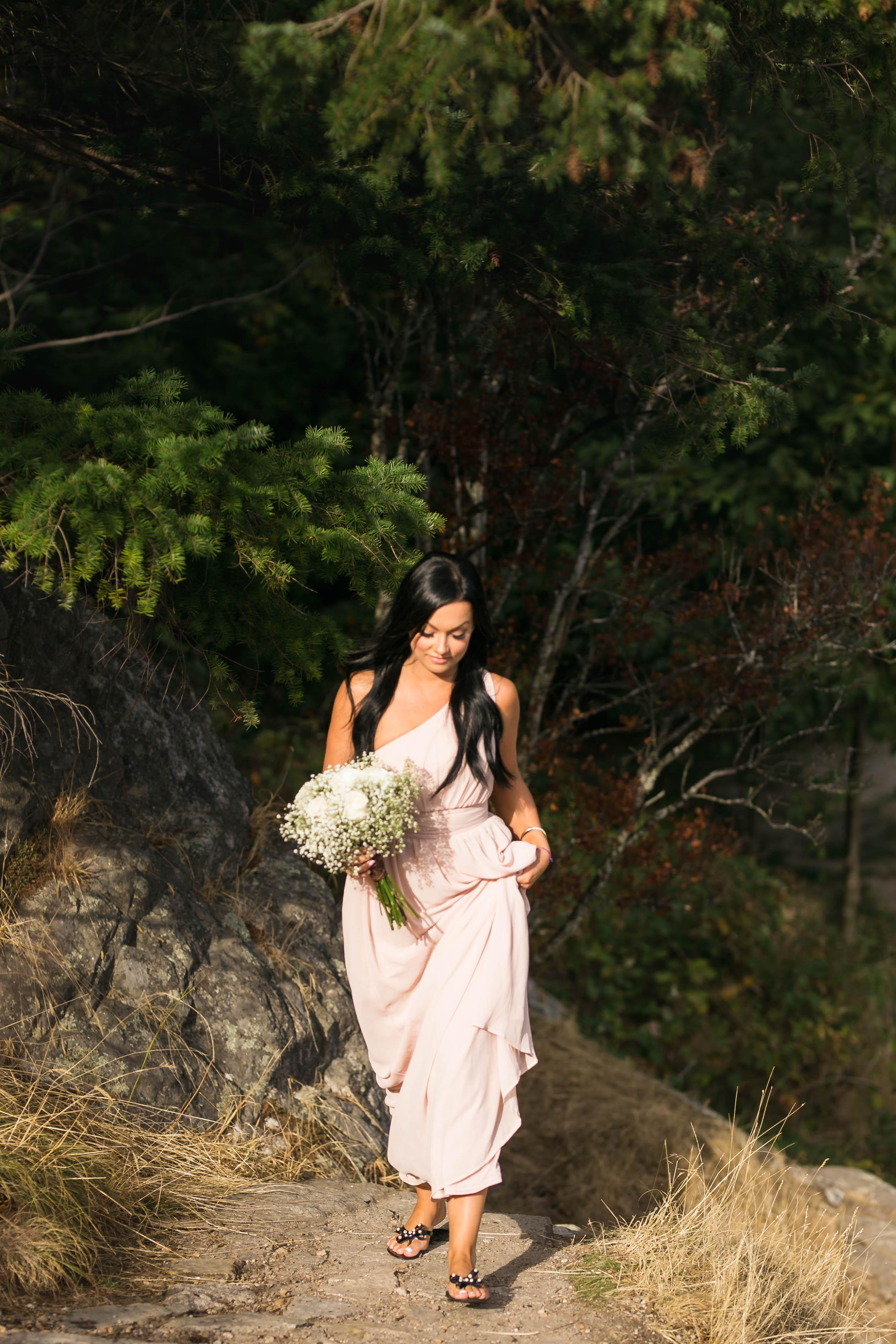 blush colored boho bridesmaid gown