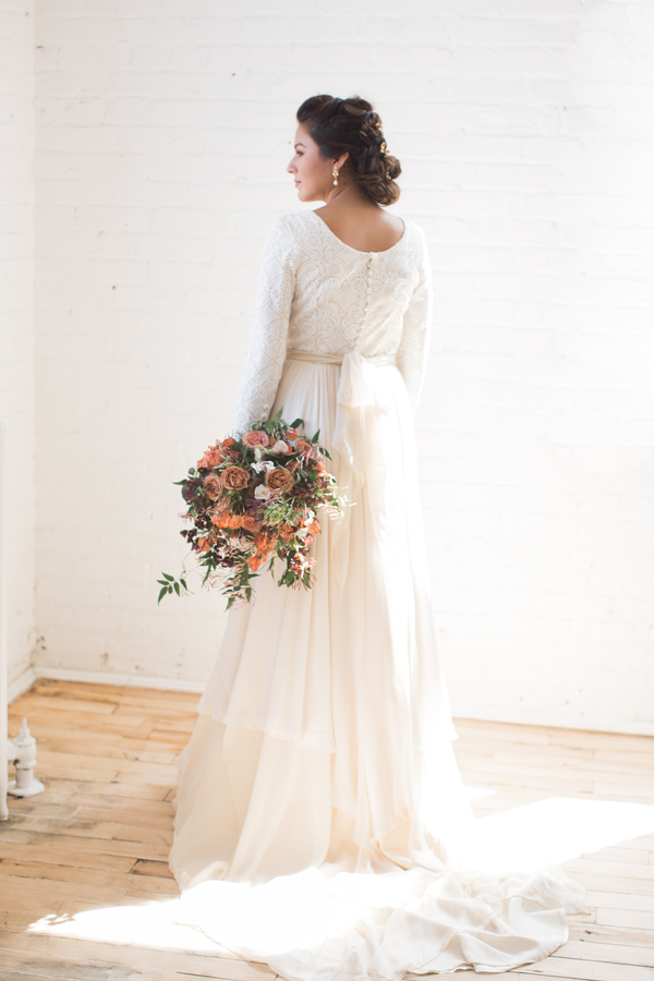 two piece wedding gown with button back