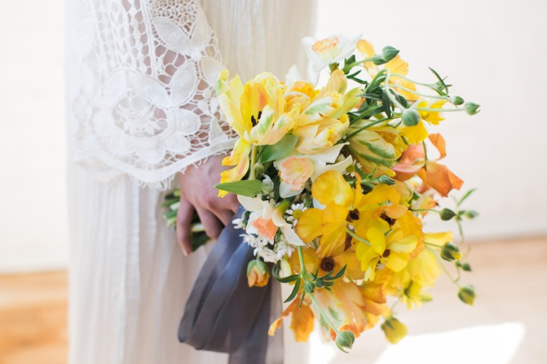 yellow themed bridal bouquet tied with silk ribbon