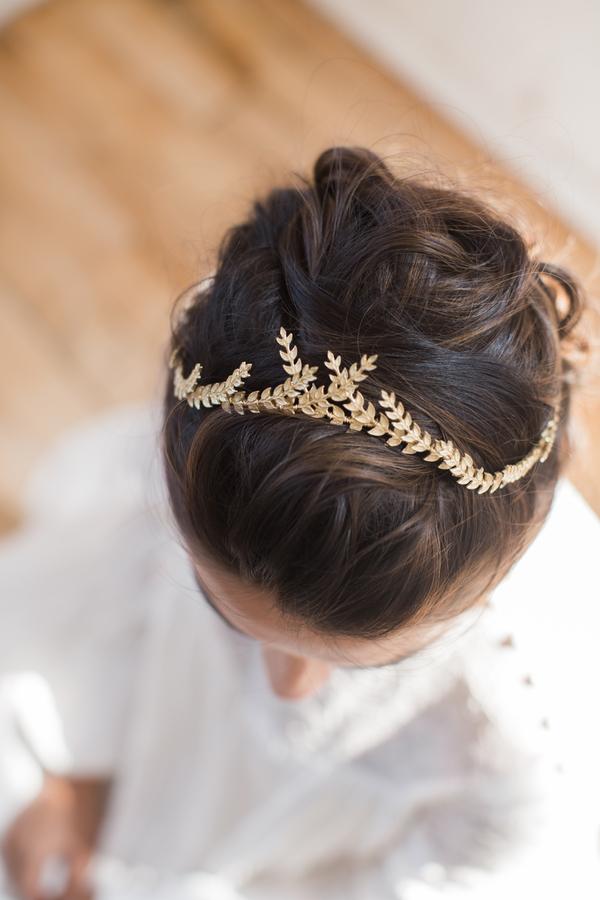 gold floral leaf wedding day crown