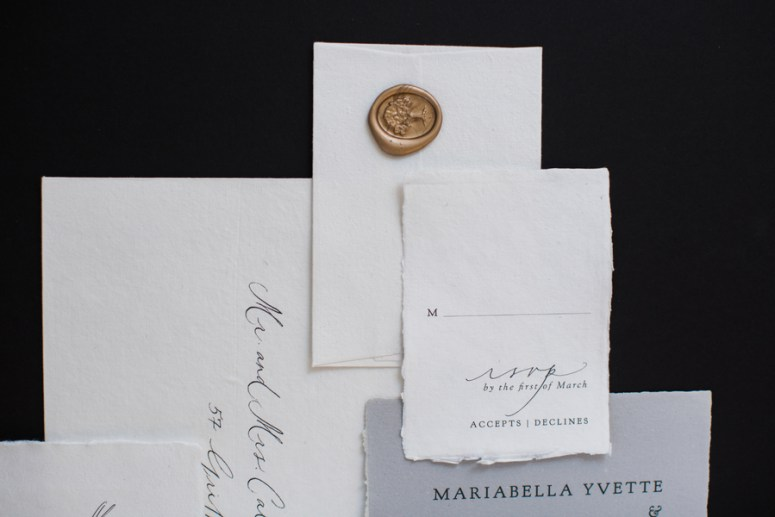 gold wax seal for wedding invitations