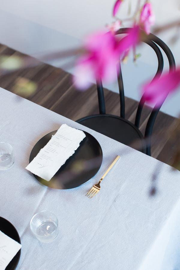 black, white and blue wedding day decor