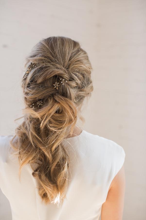 loose wedding updo for long hair