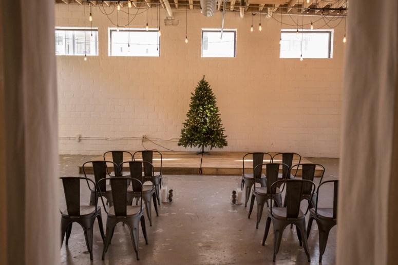 Minimalist Christmas themed wedding ceremony