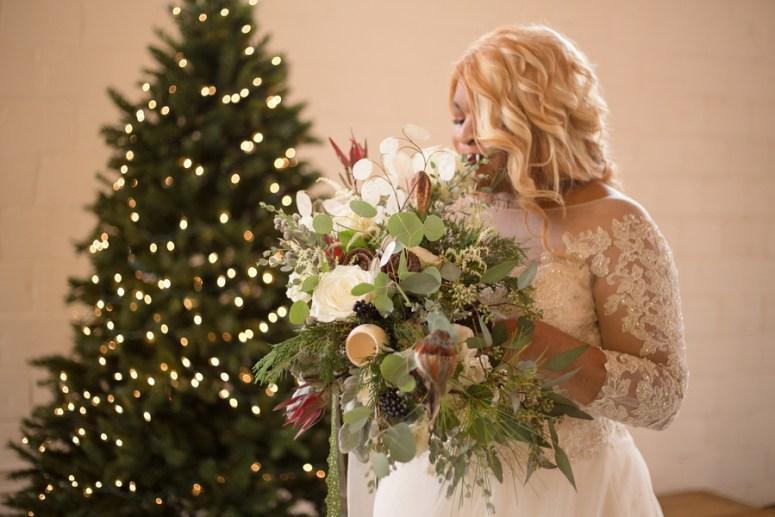 Christmas themed wedding bouquet