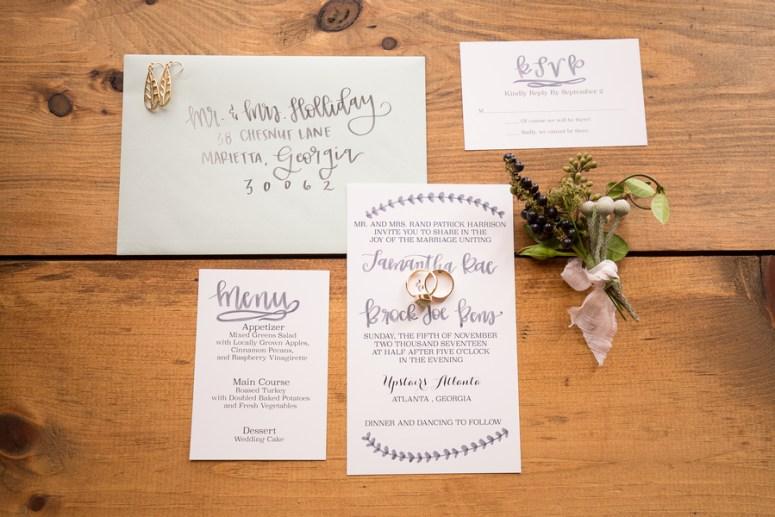 Minimalist watercolor wedding stationery