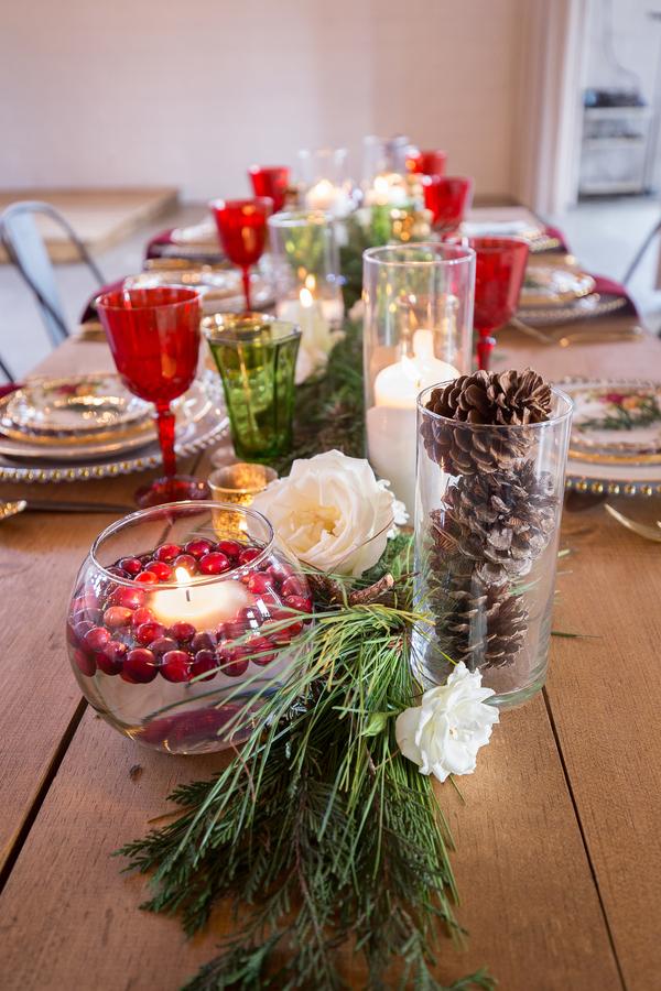 Christmas themed wedding table decor