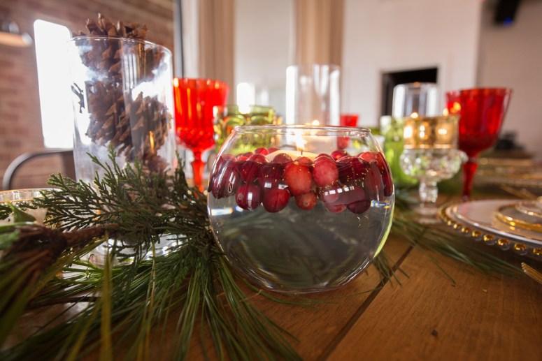 Christmas Themed wedding centerpieces