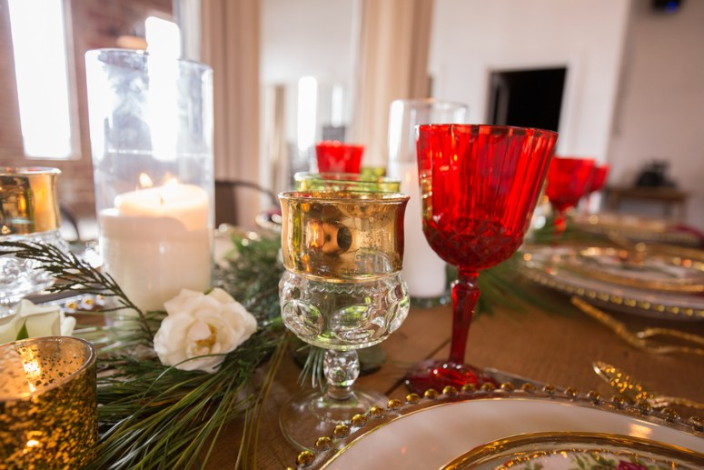 Red and Gold Wedding tablescape