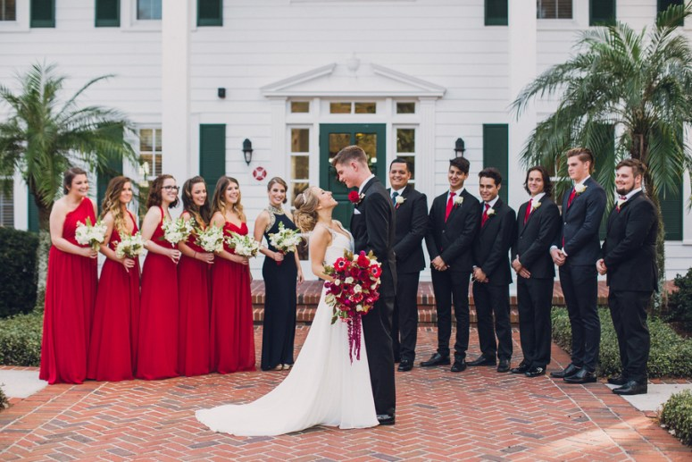 bridal party attire in red black and white