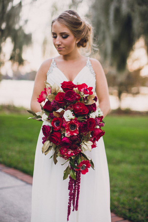 cascading red bridal bouquet