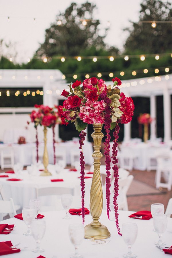 Tall red floral centerpieces for wedding