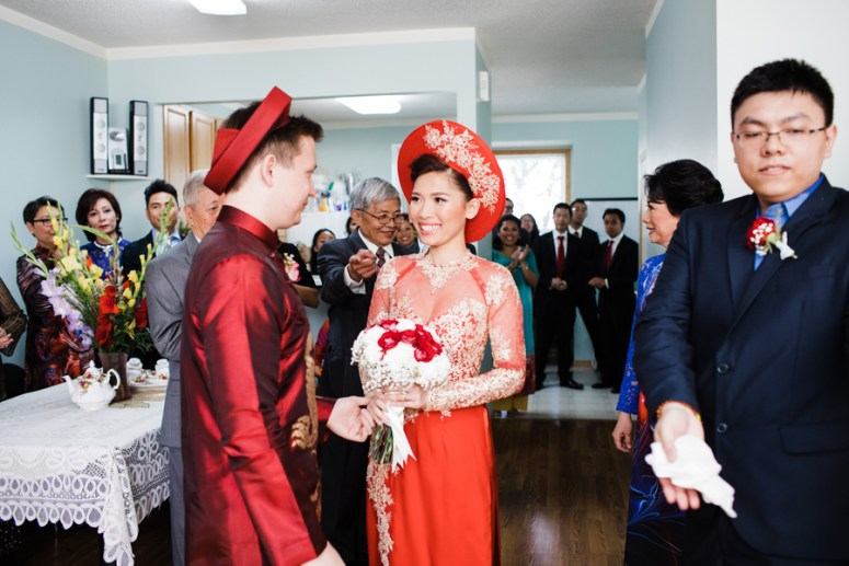 Traditional Red Vietnamese wedding dress