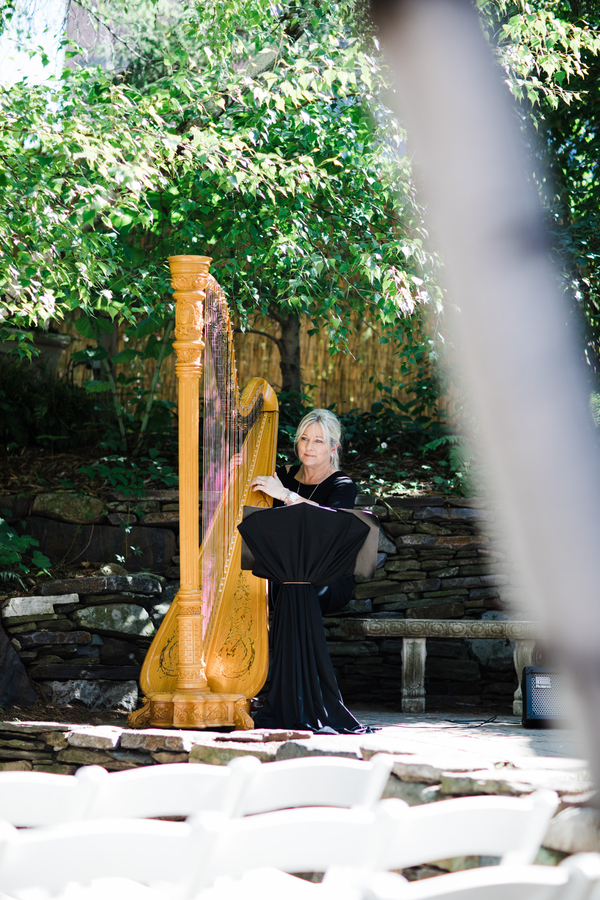 Harpist playing at wedding ceremony