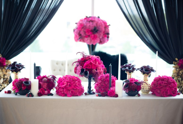 pink wedding flowers, hot pink wedding flowers, pink wedding table decor, hot pink wedding ideas