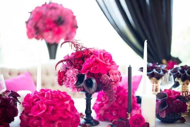 hot pink wedding flowers, pink wedding flowers, pink wedding flower ideas, pink and black wedding flowers