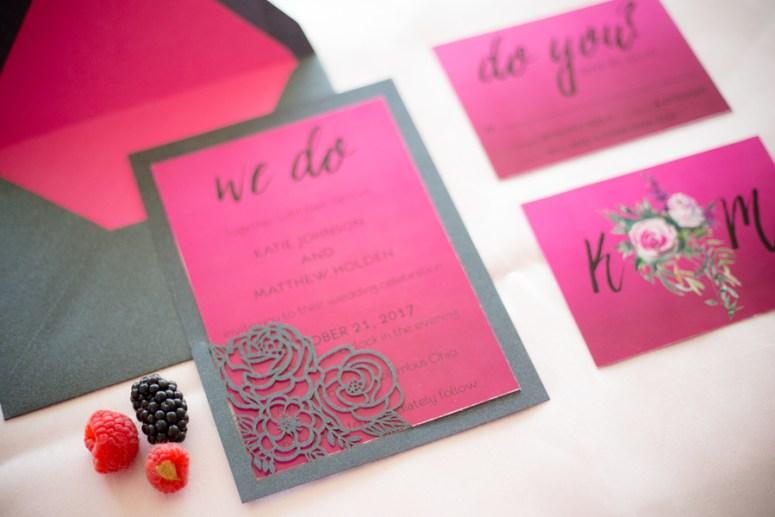 pink wedding invitations, hot pink wedding invitations, pink wedding stationery