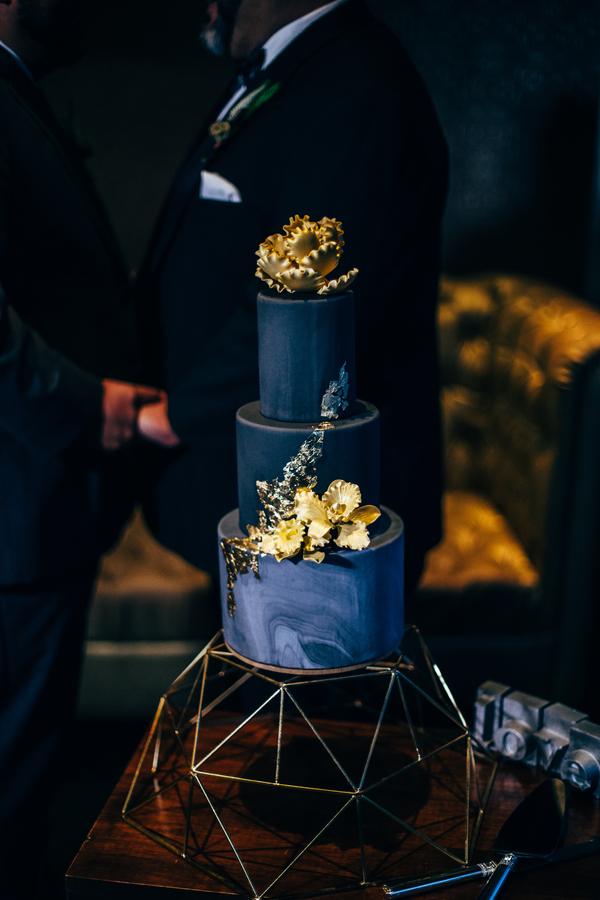 blue marble wedding cake, three tier wedding cake, gold wedding cake, gay wedding cake