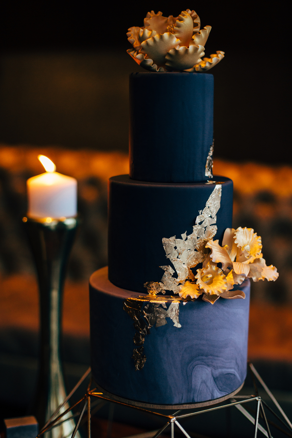 navy and gold cake, marble cake, three tier cake, gay wedding planning