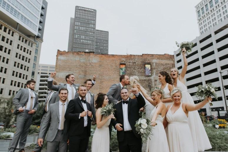 rooftop wedding, Detroit wedding, bridal party portrait ideas