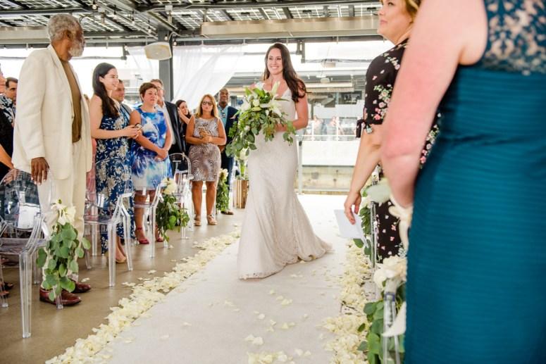 White Rose Petals on Aisle, Bride Walking Down Aisle