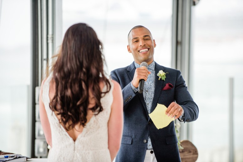 Groom Reciting Wedding Vows, Groom Reading Personalized Vows