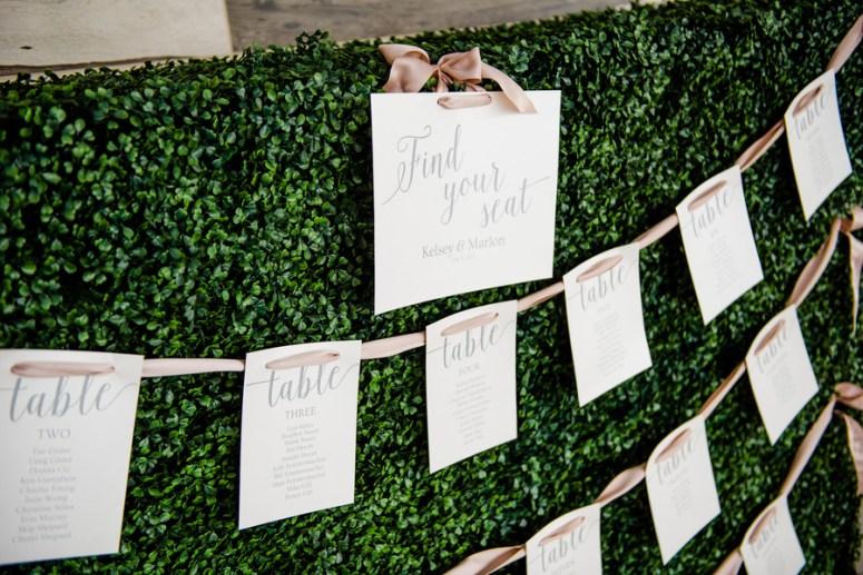 DIY Wedding Seating Chart, Seating Chart on Grass Wall
