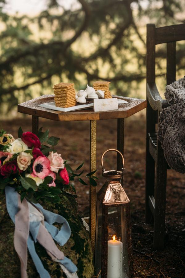 woodland wedding, s'mores station, winter wedding, winter wedding ideas