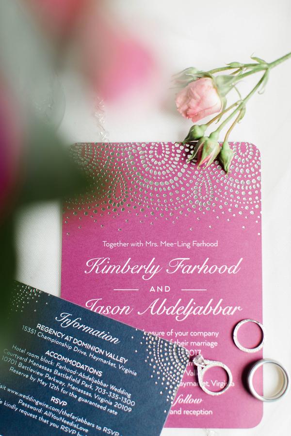 Hot Pink and Navy Wedding Invitations