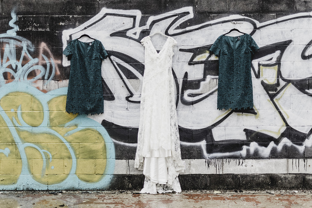 trash the dress wedding photo graffiti