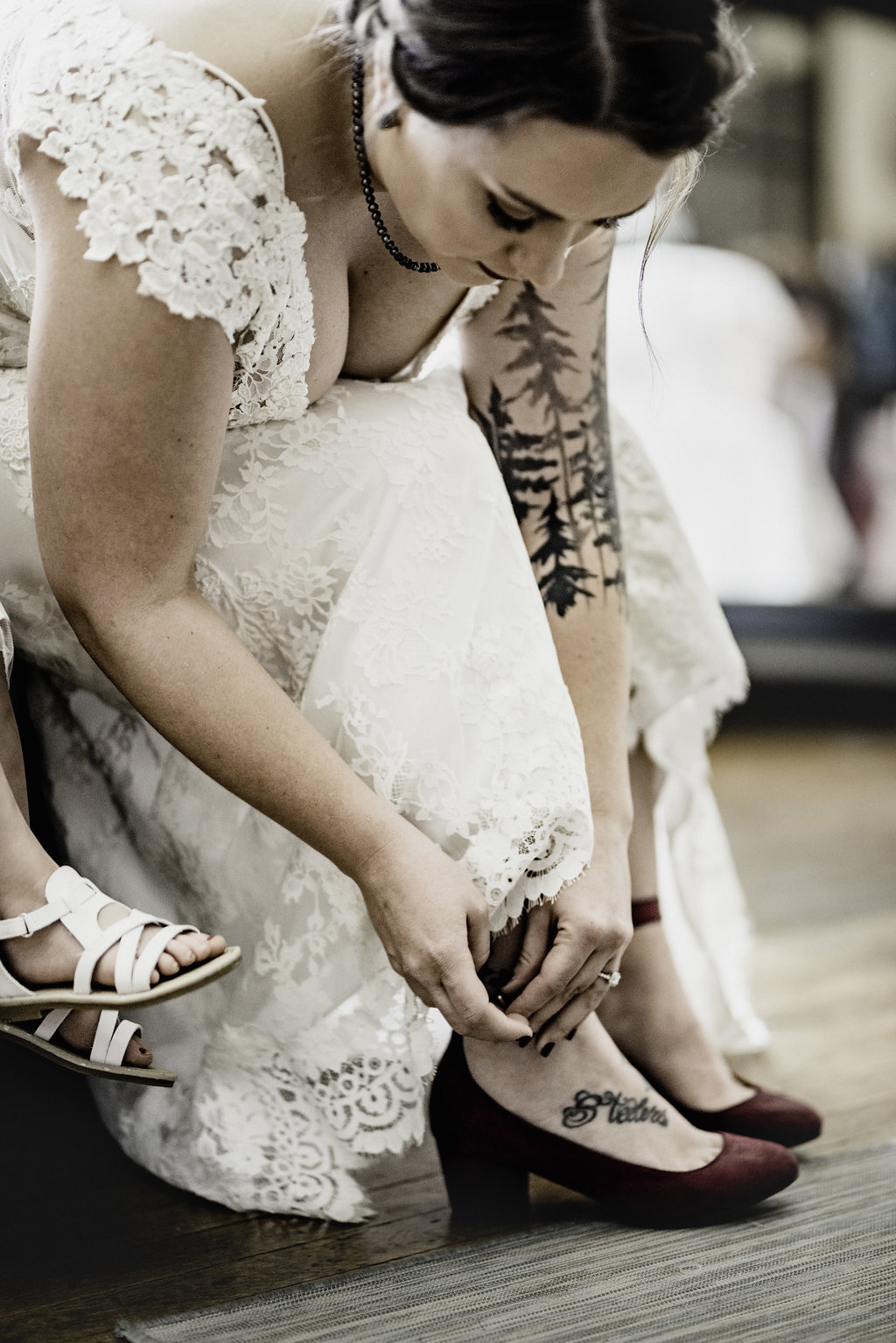 block heel wedding shoes, bride with tattoos