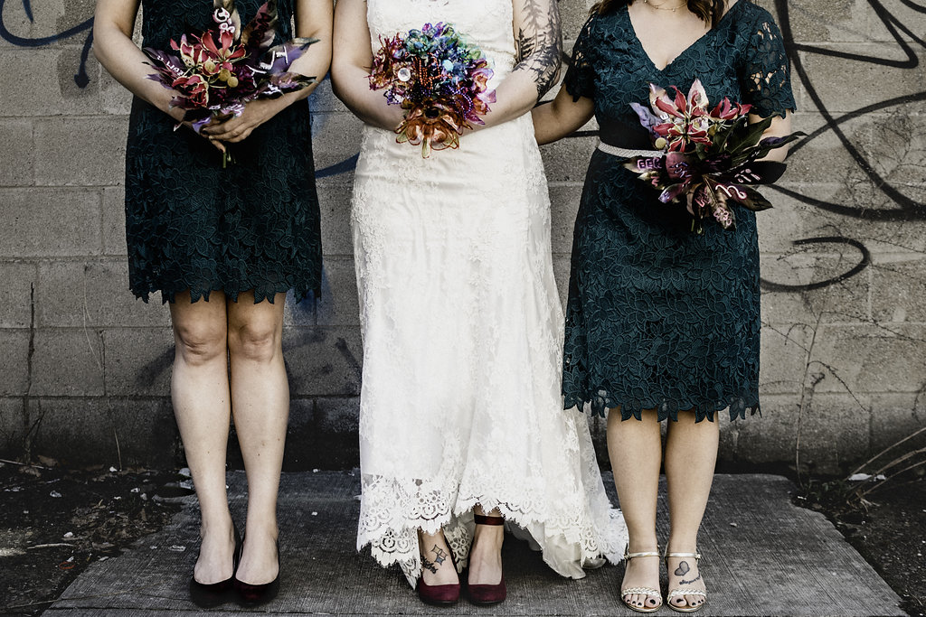 Emerald green bridesmaids dresses short