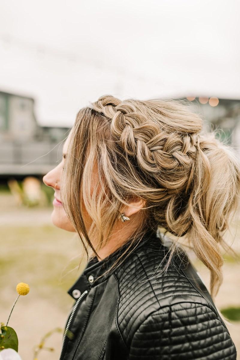 Loflin Yard Wedding, Memphis Wedding, Rock and Roll Bride, Modern Wedding, bridal braid