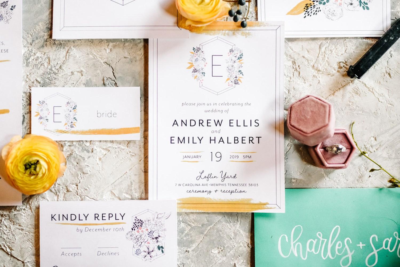 Loflin Yard Wedding, Memphis Wedding, Rock and Roll Bride, Modern Wedding, yellow and green wedding invitations