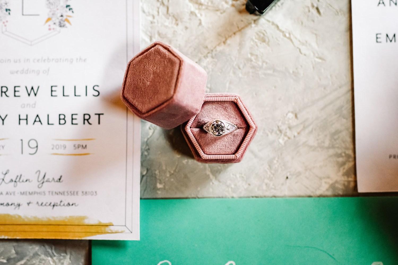 Loflin Yard Wedding, Memphis Wedding, Rock and Roll Bride, Modern Wedding, blush pink ring box