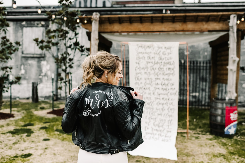 Loflin Yard Wedding, Memphis Wedding, Rock and Roll Bride, Modern Wedding, mrs. leather jacket