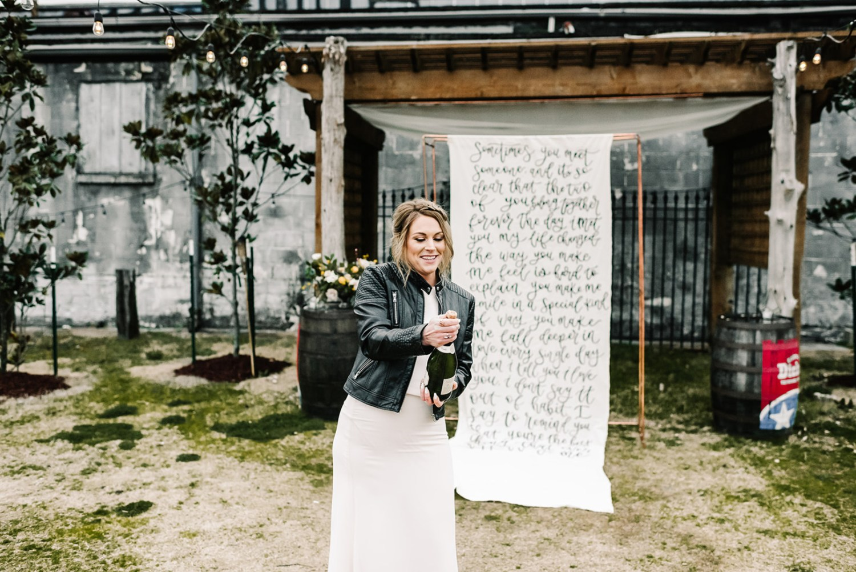 Loflin Yard Wedding, Memphis Wedding, Rock and Roll Bride, Modern Wedding, bride wearing leather jacket