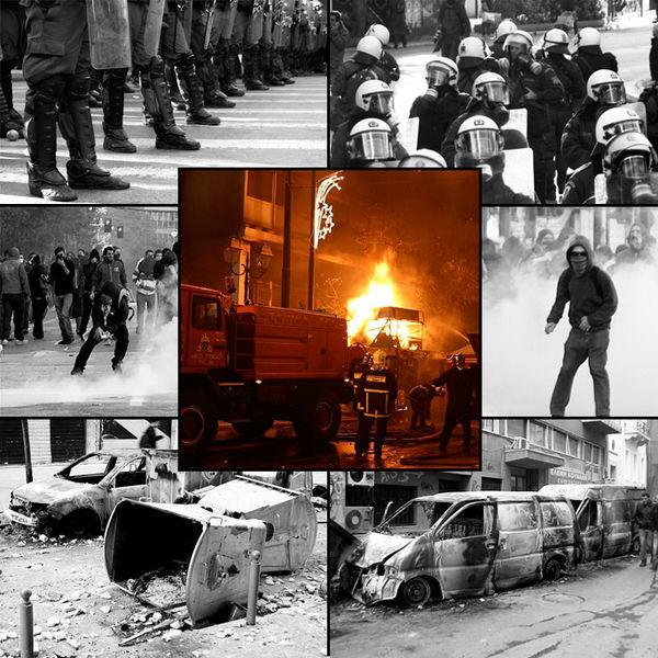 Grudzień 2008, Grecja – Według wskazówek zegara, z góry na dół: oddziały policji stawiają czoła protestującym; policja wkracza do akcji celem opanowania buntujących się cywilów; protestujący prowokuje policję; spalone pojazdy; porzucona barykada; protestujący wycofują się w reakcji na użycie gazu łzawiącego