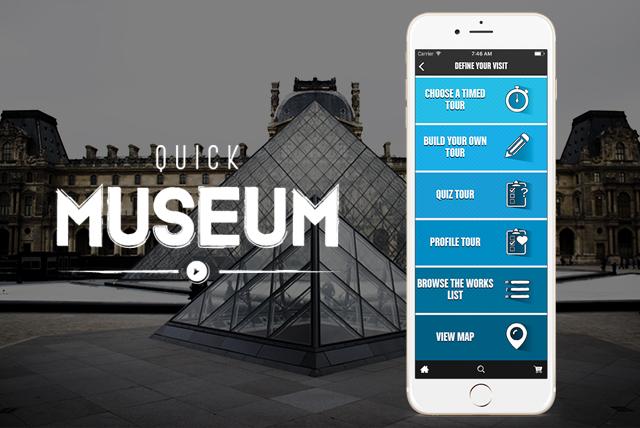 Immagine e logo di QuickMuseum app per visitare musei