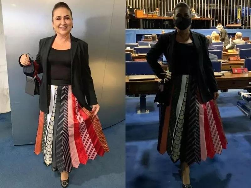 Kátia Abreu chama atenção ao usar saia feita de gravatas durante votação no Senado: 'fiz com gravata dos colegas' | Sou de Palmas