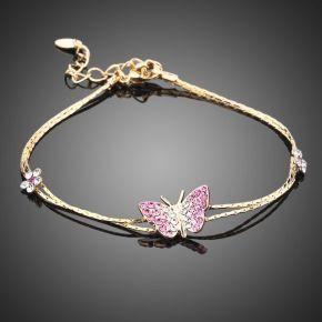BL018 | Gold Plated Butterfly Austrian Crystal Bracelet