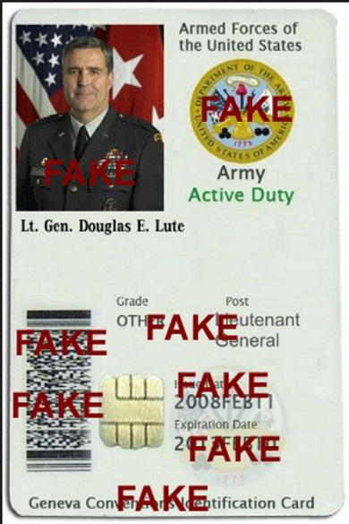 Fake Identity Card from Lt. Gen. Douglas E. Lute (Retired) abused by Scammers