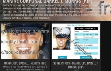 Marine Corporal Darrel J. Morris (RIP) image abused by Scammers